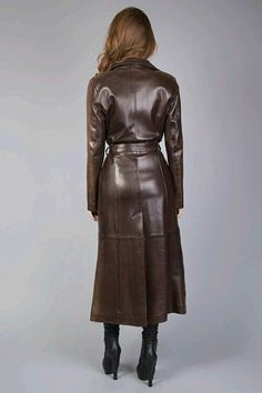Leather trench coat rear view