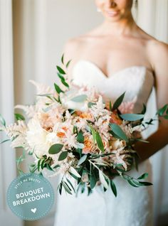 Freeform Peach #Bouquet with Peonies + Dahlias + Roses -- See the full recipe on #SMP: http://www.StyleMePretty.com/2016/01/02/bouquet-breakdown-blush-peach-portugal-wedding/ Floral Design - Brancoprata.com -- Photography : André Teixeira, Brancoprata