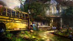 Otherworld 2 - schoolbus by firedudewraith. #postapocalyptic #Art #gosstudio .★ We recommend Gift Shop: http://gosstudio.com ★