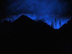 Sierra Silhouette, Glow in the dark wall mural by Frank Wilson Ceiling Murals, Wall Murals, Wall Art, Mountain Silhouette, Glow Paint, Silhouette Painting, Pallet Painting, Dark Skies, Inspiration Wall