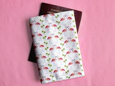 Items similar to Flamingo passport cover - flamingo travel wallet - flamingo gift - travel gift - flamingo passport holder - unique flamingo print fabric on Etsy Flamingo Gifts, Flamingo Print, Passport Cover, Wash Bags, Travel Gifts, Printing On Fabric, How To Draw Hands, Wallet, Sewing