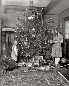 "Washington, D.C., circa 1920. ""Margaret Clark."" A Christmas tree with all the trimmings, and a Buick. Harris & Ewing Collection"