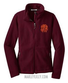 Show off the SU colors with this maroon fleece jacket monogrammed in orange.