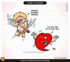 Razão vs Emoção Heart Vs Mind, Funny Love, Haha, Have Fun, Funny Quotes, Hilarious, Cartoon, Humor, Comics