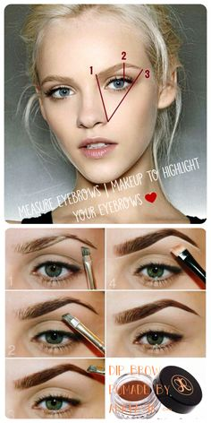 Measure eyebrows make up pomade by anastasia diy gaby mst ♥ Best Eyebrow Makeup, Best Eyebrow Products, Contour Makeup, Eyebrow Pencil, Beauty Makeup, Eye Makeup, Makeup Kit, Makeup Brush, Makeup Eyebrows