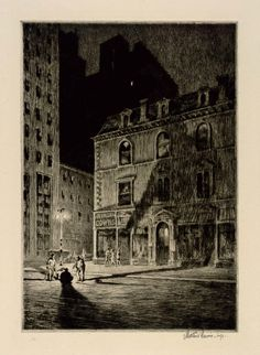 Moonlight Etchings of the Forgotten Artist who Taught Edward Hopper Edward Hopper, Bd Pop Art, Gravure Illustration, Drawing Exercises, Digital Museum, Collaborative Art, Dance Pictures, Illustrations, Art Club
