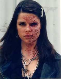 """Neve Campbell, as Bonnie Hyper in a behind the scenes photo of """"The Craft"""", in 1996"""