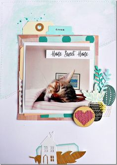 "Layout ""Home sweet home"" Scrapbook Cards, Scrapbook Layouts, Cat Sketch, Happy Mail, Scrapbooks, Stampin Up, Sweet Home, Passion, Drop"