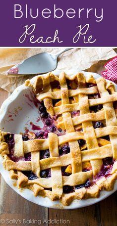Homemade blueberry peach pie is unlike any other summer dessert-- we LOVE this! Recipe on sallysbakingaddiction.com