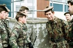 Prince Charles is Colonel in Chief of a number of British Regiments, here he is seen visiting a unit of the Gordon Highlanders while they were on active service in Northern Ireland during the 1970s.