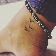 Cute small bird tattoo for girls – tiny birds tattoo in flight on ankle