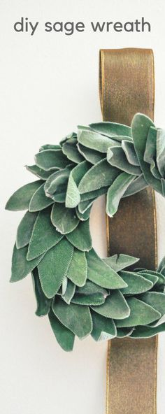 DIY Sage Wreath. Sage is an easy herb to use on a wreath and it dries beautifully. This DIY craft smells great and looks gorgeous in your home! #wreaths #diyproject #craft