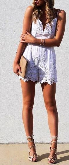 #summer #fblogger #outfits | White Lace Playsuit