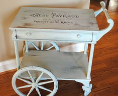 Lucky Me Studios: Molly the Tea Cart gets a Fresh, French Makeover