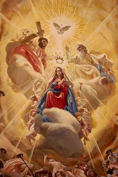The Coronation of Mary as Queen of Heaven and Earth - Mary Queen oh Heaven Catholic Pictures, Pictures Of Jesus Christ, Catholic Religion, Catholic Art, Catholic Saints, Blessed Mother Mary, Blessed Virgin Mary, Religious Images, Religious Art