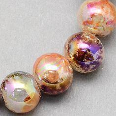 20 Peach and Purple Glass Beads Aurora Borealis Coating Bubble Bead 8mm Peachy Fuchsia Mix 3783 by OverstockBeadSupply on Etsy
