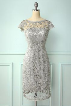 Zapaka Grey Bateau Cap Sleeves Knee-Length Lace Mother Of the Bride Dress Mother Of The Bride Dresses Vintage, Mother Of Groom Outfits, Vintage Inspired Dresses, Mother Of The Bride Dresses Knee Length, Grey Bodycon Dresses, Prom Dresses Long Pink, Wedding Dresses, Floral Dresses With Sleeves, Malva