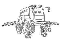 coloring page agricultural sprayer tractor colouring picture Farm Coloring Pages, Colouring, Tractors, Activities