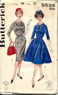 1960s Butterick 9536 bust 36 dress