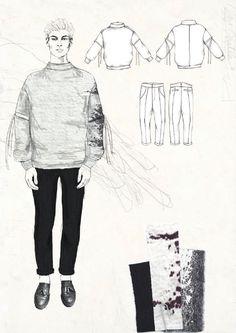 Fashion Sketchbook - fashion illustration & fabric layout; fashion portfolio // Robyn Priestley