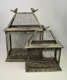 Loving this Bird House Candleholder Set Antique Bird Cages, Wire Baskets, Inspired Homes, Bird Houses, Doll Houses, Decorative Objects, Beautiful Birds, Decoration, Vintage Decor