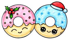nice How to Draw + Color Christmas Donuts step by step Easy and Cute 365 Kawaii, Kawaii Art, Cute Easy Drawings, Cute Kawaii Drawings, Kawaii Doodles, Cute Doodles, Drawing Cartoon Characters, Cartoon Drawings, Cartoon Illustrations