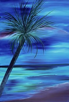 Out of the Blue Tropical palm tree painting by Christine Baeza www.baezatropicalart.com