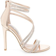 Steve Madden Women's Sweetest Stilettos Sandals ($100) ❤ liked on Polyvore featuring shoes, sandals, rose gold, dressy sandals, high heel sandals, stiletto shoes, stiletto sandals and rose gold evening shoes