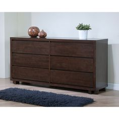 Harvey Wenge 6-drawer Bedroom Dresser 31.5 inches high x 59.1 inches wide x 17.7 inches deep $440.99