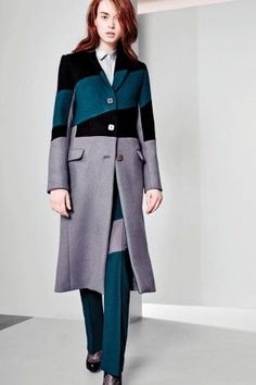 Bold and colorful colour blocked coat