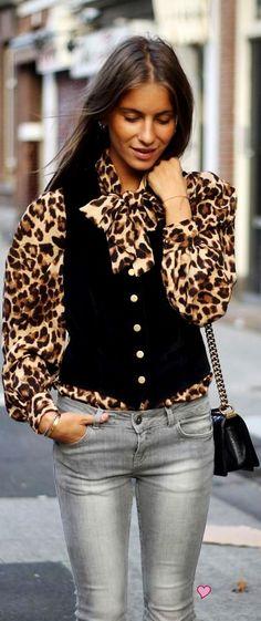 vest w/leopard print bow tied blouse