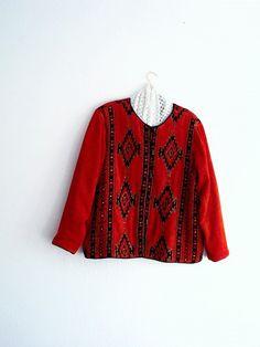 Red Bohemian Velvet Jacket. Plus Size Ethical Fashion by KheGreen on Etsy
