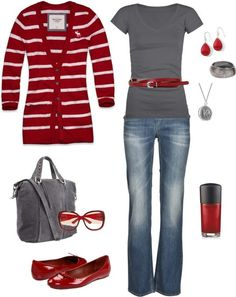 Red and gray are neat together/ like the tops and shoes.