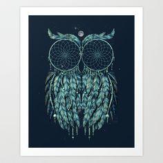 Owl Dream Art Print by Jorge Garza