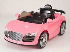 Pink Remote Control Audi R8 Style Ride On Car W/12V Motors & MP3 - This fabulous Audi R8 style twin motor and two speed ride on car is a real head turner. The R8 inspired Autobahn Motors 12 volt ride on car is a blast for any 2 to 4 year old to hop in and take a spin.