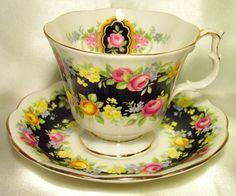 Royal Albert ~ Fascination Black ~ Garland Series ~Tea Cup & Saucer