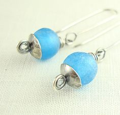 Blue African Recycled Glass Earrings by handmadebywendyladyk, $24.00