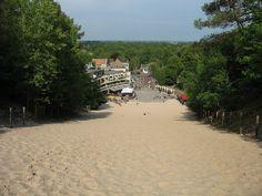 "Ski slope? No, this is sand. It's the Klimduin (""climbing dune"") in Schoorl, The Netherlands"