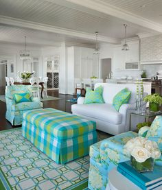 house of turquoise living room tan sofa 3583 best images beach marianne jones this is fabulous love the checks