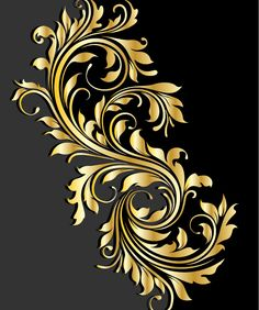 Glossy golden floral ornaments vector background 05