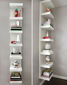 awesome use of the glossy white ikea lack shelf unit priced at 49 and hung vertically here to give some height to the room and a nice minimal and clean - Hanging Bookshelves Ikea