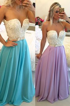 Pearls Top Chiffon Prom Dresses Sweetheart Neck Sheer Open Back Long Formal Dresses