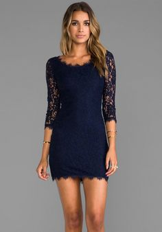 DIANE VON FURSTENBERG Zarita Scoop Dress in Navy at Revolve Clothing - Free Shipping!