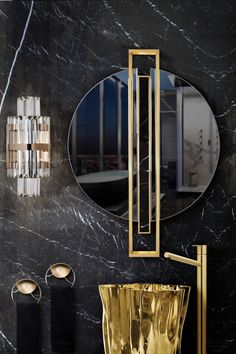 Shield is a round mirror made entirely from mirror, polished brass and a Nero Marquina marble bar. Inspired in the most ancient and valuable armour. Classic Bathroom, Modern Bathroom, Black And Gold Bathroom, Bathroom Design Inspiration, Design Ideas, Design Projects, Design Trends, Dyi, Frameless Mirror