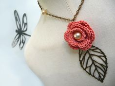 Crochet Flower Necklace with Brass Chain and Leaf  Salmon Pink