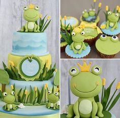 - Her Crochet Buttercream Cake, Fondant Cakes, Cupcake Cakes, Sweet Cakes, Cute Cakes, Frog Baby Showers, Frog Birthday Party, Bithday Cake, Cake Birthday