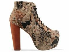 Jeffrey Campbell Cat Tapestry Lita Boot (oh my god they have cats on them) Cat Shoes, Shoes Heels Boots, Heeled Boots, Ugly Shoes, Jeffrey Campbell, Estilo Rock, Shoes Too Big, Dream Shoes, Combat Boots