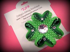St Patricks Day 4 Leaf Clover Ribbon by TracysSassyBowtique, $5.99