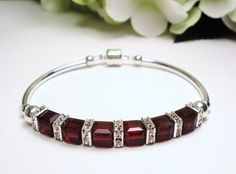 January Birthstone Bracelet  Garnet Crystal by designsbylaurie, $40.00