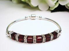January Birthstone Bracelet  Garnet Crystal by designsbylaurie, $40.00